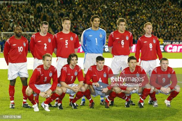 Picture of the English taken in Gothenburg before their friendly match against England 31 March 2004. Top row from LtoR, Darius Vassel, Jamie...
