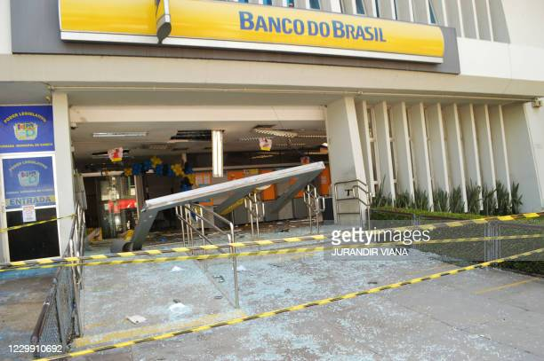 Picture of the entrance of a bank which robbers struck just after midnight, in Cameta, Para State, in northern Brazil, taken on December 2, 2020. - A...