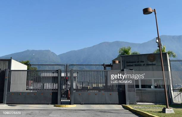 Picture of the entrance of the embassy of the United States in Caracas taken on January 27 2019 As a deadline given by Venezuelan President Nicolas...
