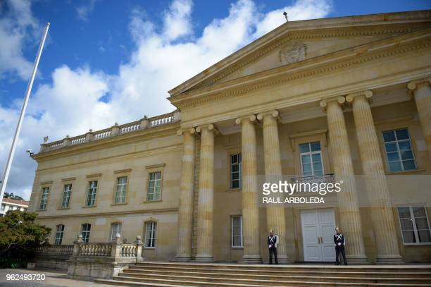 Picture of the facade of the Casa de Narino presidential palace in Bogota taken on May 25 2018 Colombia holds presidential elections on May 27