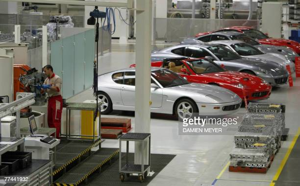 Picture of the Ferrari production line in the factory of Maranello 22 October 2007 during a press visit AFP PHOTO DAMIEN MEYER