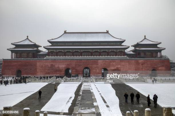 Picture of the Forbidden City after a snowfall in Beijing on February 22 2017