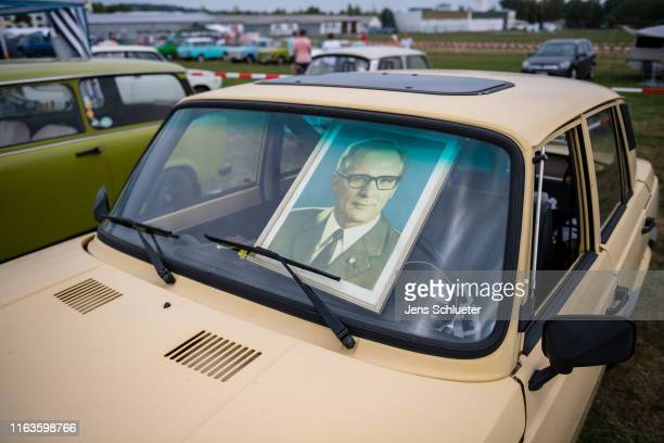 A picture of the former communist East German leader Erich Honecker at the annual meeting of the Trabant fans on August 24 2019 in Zwickau Germany...