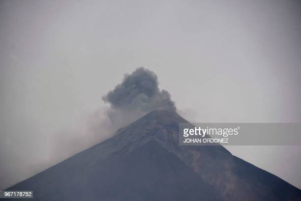 Picture of the Fuego Volcano taken from San Miguel Los Lotes a village in Escuintla Department about 35 km southwest of Guatemala City on June 4 2018...