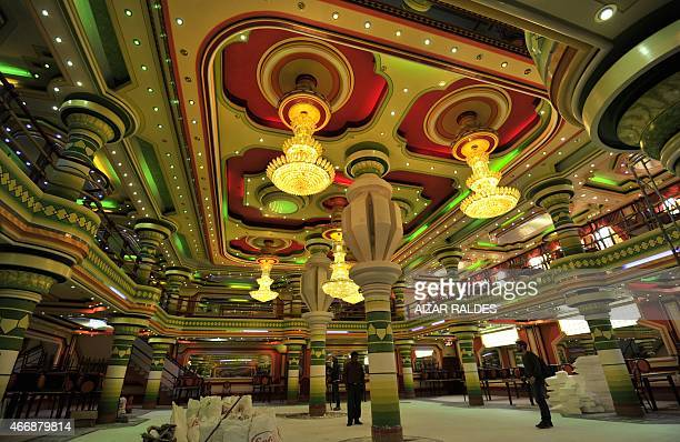 Picture of the function room of a building built in neo-Andean baroque architecture known as Cholet style in El Alto, Bolivia, taken on March 13,...