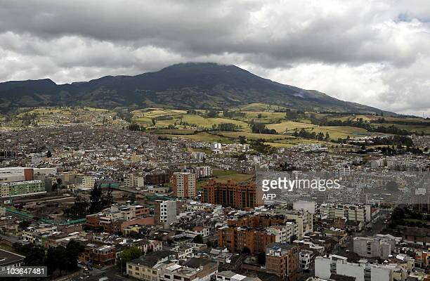 Picture of the Galeras volcano seen from Pasto Nariño department Colombia on August 26 2010 Colombia on Wednesday lowered an alert status on the...