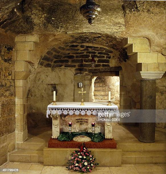 A picture of the grotto of the Catholic Church of the Annunciation believed to stand at the site of Mary's house where angel Gabriel appeared and...