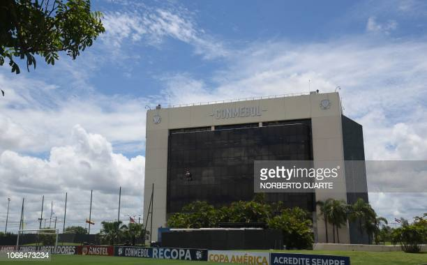 Picture of the headquarters of the South American football's governing body Conmebol in Luque near Asuncion taken on November 29 2018 Conmebol...