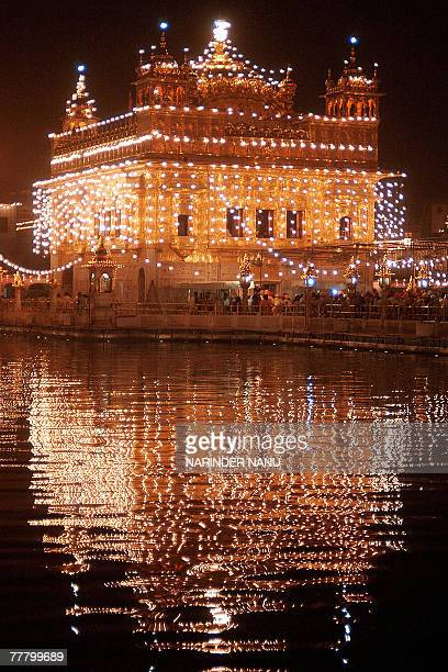 Picture of the illuminated Golden temple in Amritsar on the eve of Bandi Chhor Divas in Amritsar 08 November 2007 BandiChhor Divas commemorates the...
