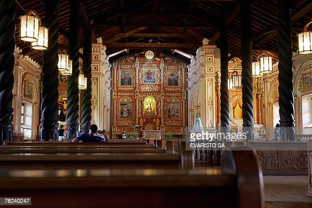 Picture of the interior of the church of the Jesuit Missions in Concepcion, Bolivia, 300 km from Santa Cruz de la Sierra, taken on December 1st,...