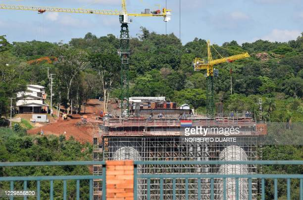 Picture of the international bridge being constructed between Foz do Iguacu in Brazil , and Presidente Franco in Paraguay, taken on December 1, 2020...
