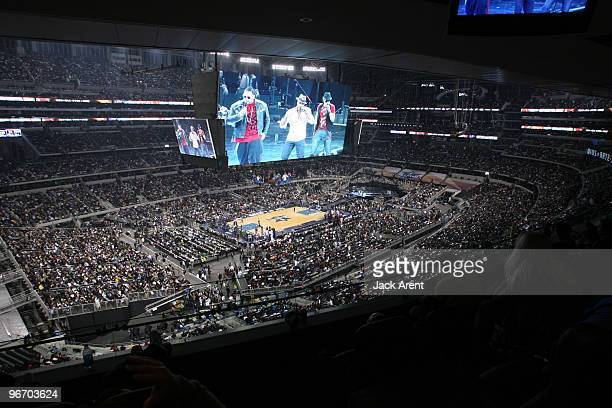 A picture of the jumbotron as Nota performs during the 2010 NBA AllStar Game on February 14 2010 at Cowboys Stadium in Arlington Texas NOTE TO USER...