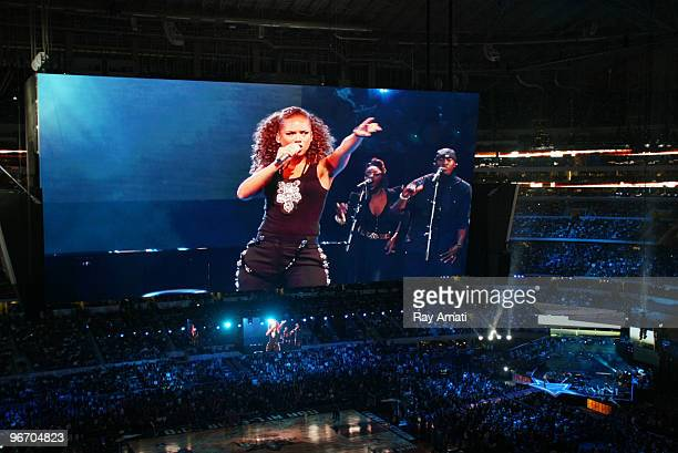A picture of the jumbotron as recording artist Alicia Keyes performs at halftime of the 2010 NBA AllStar Game on February 14 2010 at Cowboys Stadium...