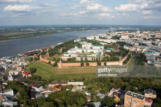 Picture of the Kremlin taken in Nizhny Novgorod, Russia, 26 August 2017 . The river Volga flows behind. The city is host to one of the venues of the...