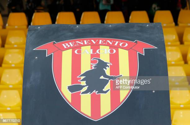 Picture of the logo of Benevento's Italian football club showing a witch riding a broom during the Italian Serie a football match Benevento Calcio vs...