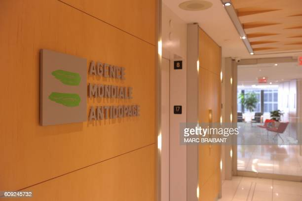 Picture of the logo of World AntiDoping Agency or Agence Mondiale Antidopage taken on September 20 2016 at the headquarter of the organisation in...