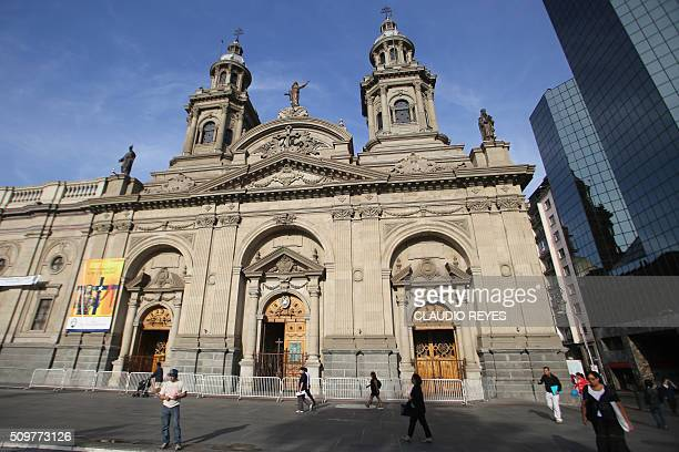 Picture of the Metropolitan Cathedral facing the Plaza de Armas square in Santiago taken on the 475th anniversary of the city's foundation on...