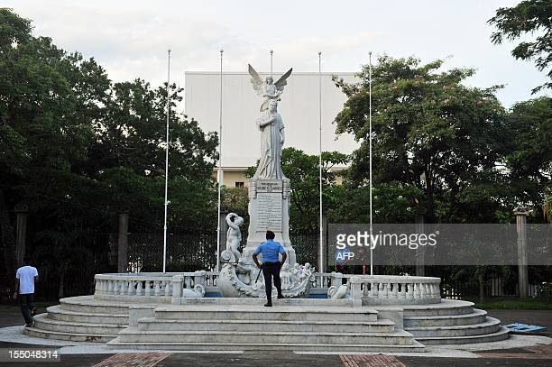 Picture of the monument to poet Ruben Dario at the Revolution Square in Managua on October 29 2012 AFP PHOTO/Hector RETAMAL / AFP PHOTO / HECTOR...