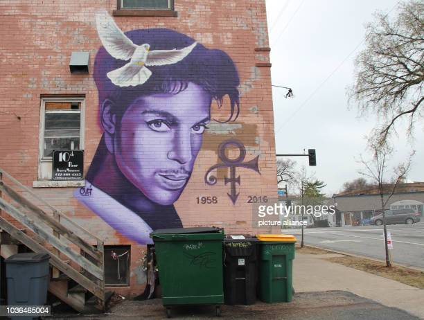 A picture of the musician Prince can be seen painted on the wall of a house in Minneapolis Minnesota USA 13 April 2017 On April 21st 2016 died the...