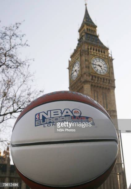 A picture of the NBA Europe Live basketball in front of Big Ben during Europe Live 2007 London Media Day on March 15 2007 in London England Today is...