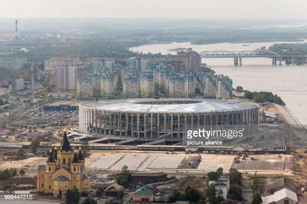 Picture of the Nizhny Novgorod Stadium with the Alexander Nevsky Cathedral in the foreground taken in Nizhny Novgorod Russia 26 August 2017 The city...