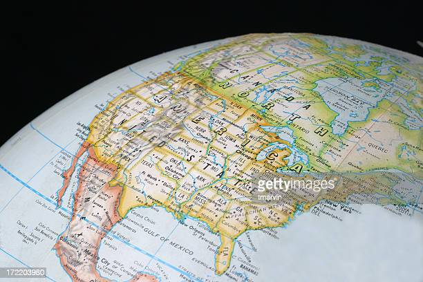 A picture of the North American section of a globe