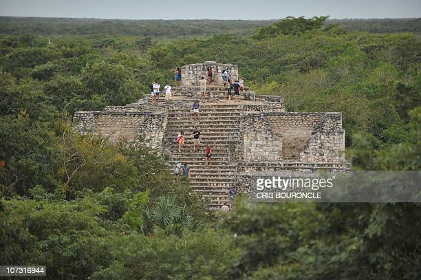 Picture of the Oval Palace at the archaeological site of Ek'Balam a complex built by the Mayan civilization in the Yucatan Peninsula in the Mexican...