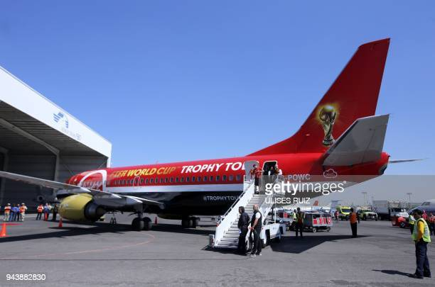 Picture of the plane transporting the FIFA World Cup trophy during the World Cup trophy tour taken upon landing at Miguel Hidalgo International...