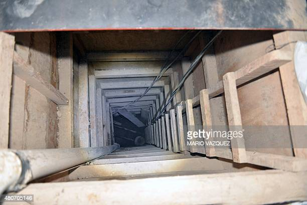 Picture of the presumed end of the tunnel through which Mexican drug lord Joaquin El Chapo Guzman might have escaped from the Altiplano prison in a...