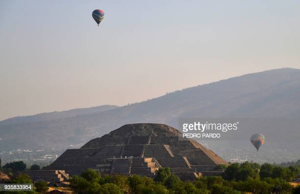 Picture of the Pyramid of the Moon at the archaeological site of Teotihuacan in the municipality of Teotihuacan northeast of Mexico City taken on the...