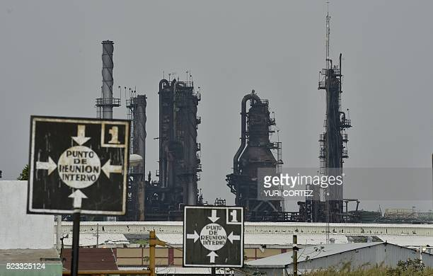 Picture of the staterun oil giant Pemex's Pajaritos petrochemical plant in Coatzacoalcos Veracruz State Mexico taken on April 22 2016 two day after...