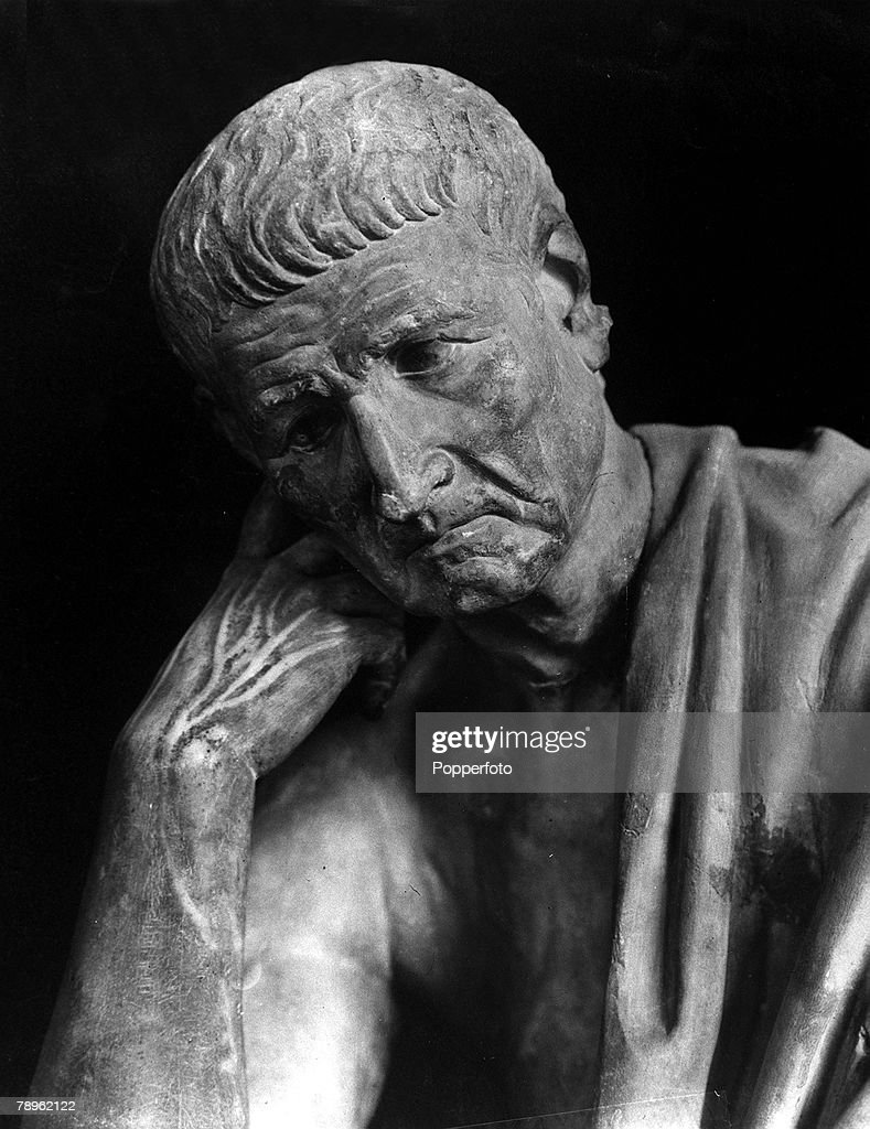 A picture of the statue of Aristotle (384-322BC), the Greek Philosopher, who taught Alexander the Great. This statue stands in the Palazzo Spada in Rome. : News Photo