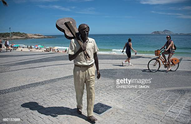 Picture of the statue of late Brazilian musician and composer Antonio Carlos Tom Jobim in Rio de Janeiro taekn on December 8 day in which was...