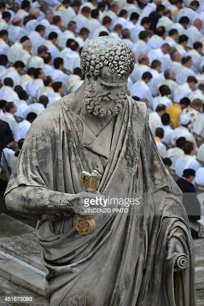 Picture of the statue of St Peter taken during a ceremony of Solemnity of Our Lord Jesus Christ the King at St Peter's square on November 24 2013 at...
