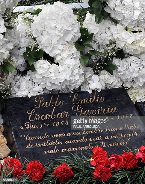 Picture of the tombstone of Colombian drug lord Pablo Escobar, taken on December 2 in Medellin, Antioquia department, Colombia, on the 15th...