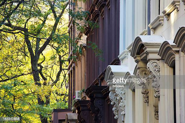 A picture of the tops of New York Brownstones