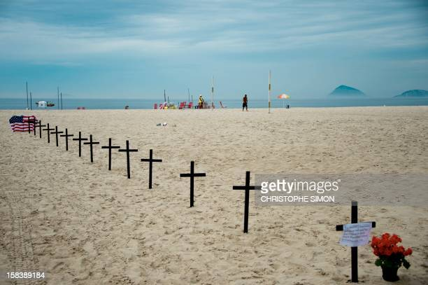 Picture of the tribute paid by the Brazilian association Rio de Paz to the victims of the elementary school shooting in Newtown in the eastern United...