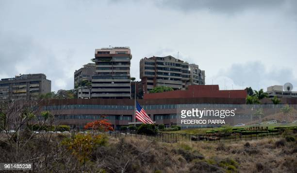 Picture of the US embassy in Caracas taken on May 22 2018 after President Nicolas Maduro announced the expulsion of the top two US diplomatic...