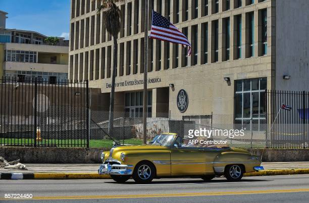 TOPSHOT Picture of the US embassy in Havana taken on October 3 2017 Cuba's Foreign Minister Bruno Rodriguez on Tuesday slammed the US expulsion of...