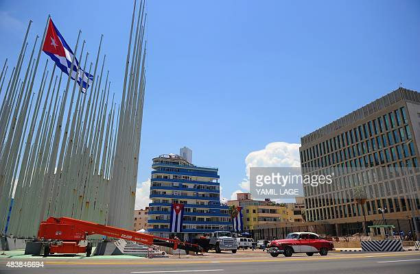 Picture of the US embassy on Havana's Malecon seafront on August 13 2015 The former US Interests Section became an embassy on July 20 but no US flag...