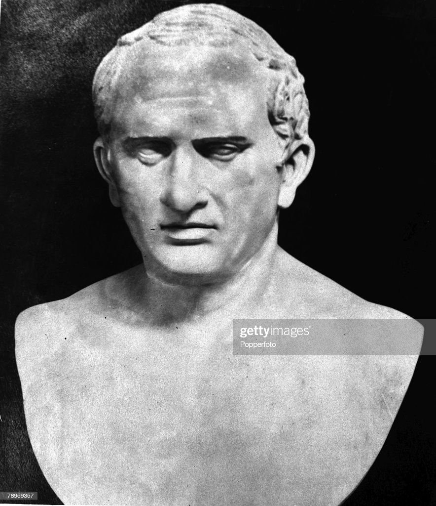 A picture of the Vatican bust of Marcus Tullius Cicero (106-43 BC), the Roman consul, orator, and writer. : News Photo