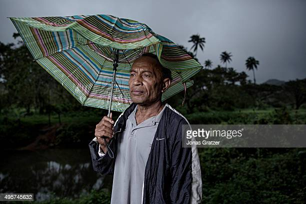 A picture of the village chief Sade Marika in the village Naviavia which has just been bought from Fiji by Kiribati to ensure that Kiribati islanders...