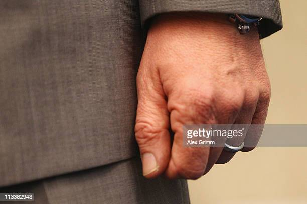 Picture of the wedding ring of TV host and weather expert Joerg Kachelmann as he waits for the beginning of day 38 of his trial on May 2 2011 in...