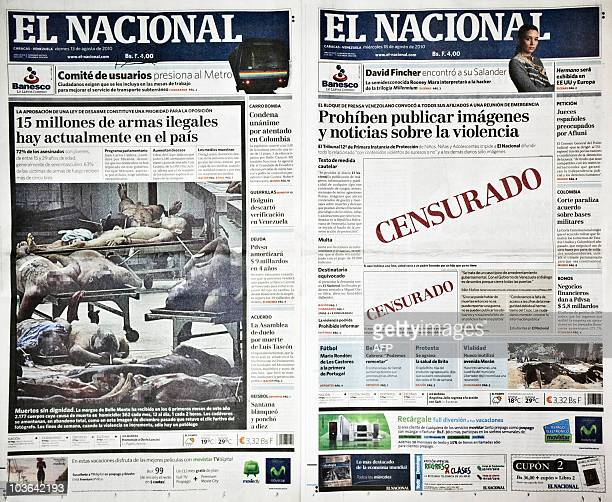 Picture of two front pages of Venezuelan newspaper 'El Nacional' from August 13 2010 and August 18 2010 respectively 'El Nacional' published on...