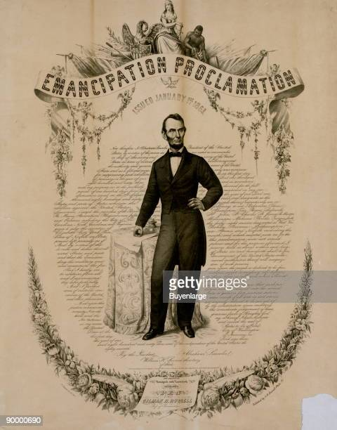 A picture of US President Abraham Lincoln on the Emancipation Proclamation