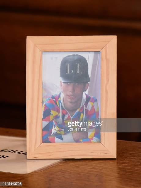 A picture of Valentin Vermeersch during the assizes trial of five men accused for the murder on Valentin Vermeersch before the Assizes Court of Liege...