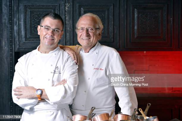 Picture of Vincent Thierry left caprice chef de Cuisine of Four Seasons Hotel and chef Michel Roux at Four Seasons Hotel Central 15OCT12