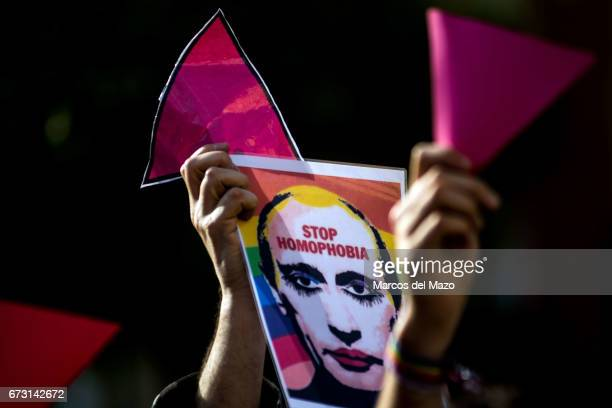 A picture of Vladimir Putting with the words 'Stop Homophobia' during a protest supporting LGTB in Chechnya