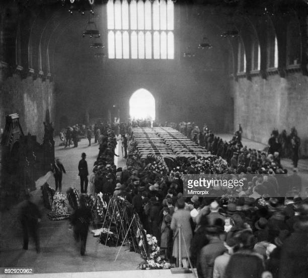 Picture of Westminster Hall when the coffins of the fortyeight men killed in the R101 disaster lay in honoured state An officer and men of the RAF...