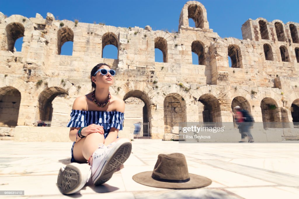 Picture of woman tourist in Athens : Stock Photo